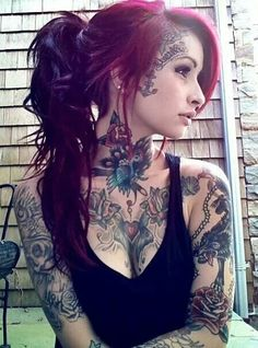 Hair color and muted color of tats, shes beautiful!!