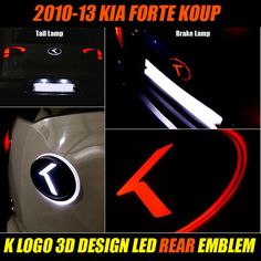 K 3D LOGO LED REAR EMBLEM BADGE For 2010-13 KIA FORTE KOUP #bricx