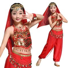 06a60464 Children Belly Dance Indian Set 5-piece (Top, Belt, Pants, Headpiece and  Bracelets) Bollywood Dance Costumes Girls height 95-155