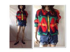 Neon jacket. Southwest jacket  festival by sixcatsfunVINTAGE