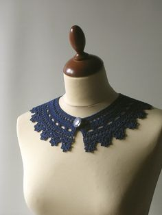 Navy blue crocheted lace collar
