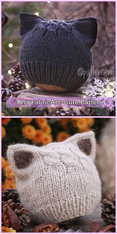 Knit Fox Ears Cat Ears Beanie Hat Knitting Pattern By # strickmütze fox ears cat ears knitting pattern by # chapeau bonnet oreilles renard oreilles tricoté Baby Hat Knitting Pattern, Baby Hats Knitting, Beanie Pattern, Knitting For Kids, Knitting Patterns Free, Cat Pattern, Newborn Knit Hat, Free Knitting, Knit Hat Patterns