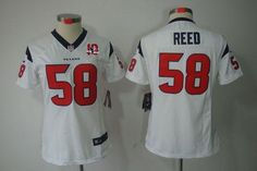 95c790a159b01 Nike Texans  58 Brooks Reed White With 10TH Patch Women s Embroidered NFL  Limited Jersey!