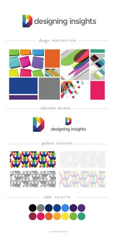 Branding Style Guide for Designing Insights. LOVE these bright colors! Logo design, pattern designs, color palette... !