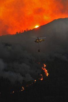 Helicopters are used to spray water over the fires. You need to hire people to do this job. Its a very dangerous job.