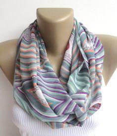 colorful chevron scarf ,women infinity scarf ,summer fashion scarf ,spring chiffon scarves ,eternity scarf