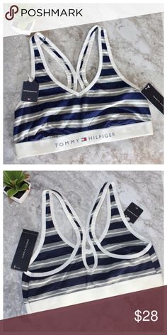 NWT! Tommy Hilfiger Striped Peep Hole Sports Bra Brand new tags attached. Size M. Comment below for additional info or measurements. We are fast to respond. Please, no price discussion in comments. Use the offer button. Ships same day M-SAT Tommy Hilfiger Intimates & Sleepwear Bras