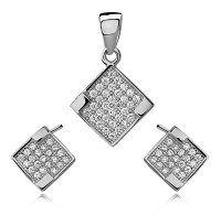 SE1305ZSS Štvorčeky - strieborný set so zirkónmi #supersperky #krasnesperky #striebornyset #zirkony #cubiczirconia #silverset #luxusjewelry #luxus #earrings #pendant #nausnice #privesok