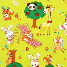 lime green Cosmo kawaii animals playground fabric from Japan