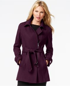 Kenneth Cole Asymmetrical-Zip Belted Trench Coat - Coats - Women - Macy's