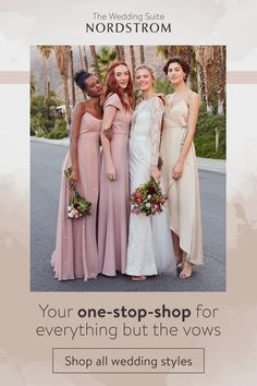 The Wedding Suite at Nordstrom is your one-stop-wedding-shop for everything but the vows. Browse wedding gowns, bridesmaid dresses, accessories, bridal shoes and more. Tap the Pin to start shopping. Wedding Suite, Dream Wedding, Bridal Dresses, Bridesmaid Dresses, Prom Dresses, Wedding Events, Wedding Gowns, Weddings, Wedding Colors