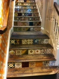 """I'm loving this """" mixed tile"""" look, it's a great way to save money or make a limited supply go a long way.    ..."""