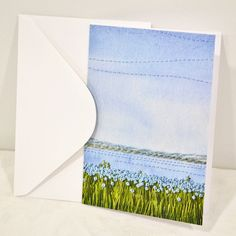 Blank Greeting Card No.5 with Envelope Featuring Images of Prairie Threadpaintings Embroidered by Monika Kinner-Whalen