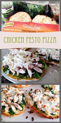 Chicken Pesto naan pizza add avocado and spinach I Love Food, Good Food, Yummy Food, Chicken Pesto Pizza, Cooking Recipes, Healthy Recipes, Pizza Recipes, Healthy Snacks, Pasta