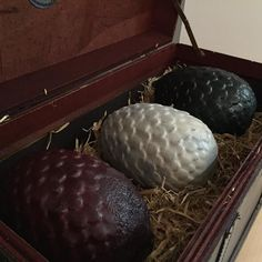 Say hello to our beautiful dragon eggs! 3D designed and 3D printed available as 1 or 3 message for details on ordering :) custom colours also available!  #gameofthrones #got #dragon #dragonegg #drogon #viserion #rhaegal #daenerys #targaryen #3dprinted #3dprinting #custom #forg3dprops by forg3dprops