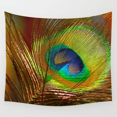 Peacock's Love Wall Tapestry by crismanart Wall Tapestries, Wall Hangings, Tapestry, Love Wall, Tablecloths, Outdoor Walls, Hand Sewn, Vivid Colors, Favorite Color