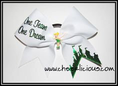 $12 One Team One Dream Fairy Bow Available at www.cheerlicious.com Disney Cheer Bows, Cheerleading Bows, Jolly Rancher Lollipops, Cheer Pom Poms, Dance Bows, Cheap Baskets, Disney Diy, Big Bows, One Team