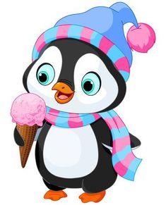 Cute penguin with hat and scarf eats an ice cream. Cartoon Drawings, Easy Drawings, Cartoon Art, Christmas Clipart, Christmas Art, Baby Cartoon, Cute Cartoon, Cartoon Mignon, Baby Animals