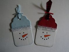 Snowman tags made with a Sizzix die -- more deets on my blog   cardcornerbycandee.blogspot.com