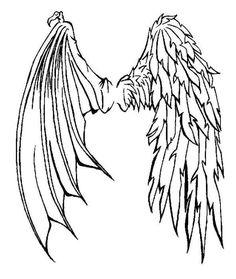 Half Angel Half Demon wings tattoo