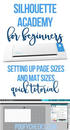 Follow along the Silhouette Academy for beginners to learn everything you need to know about using your machine! Tutorial on setting up page, material and mat sizes.