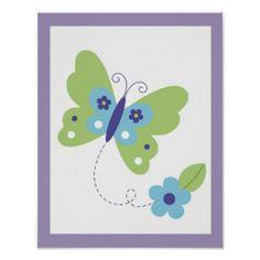 Modern Butterfly Flower Nursery Wall Art Print