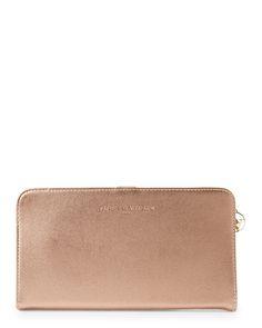 Adrienne Vittadini Rose Gold Large Portfolio Wallet