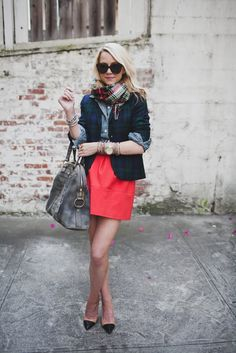 by atlantic-pacific.... Scarf: Forever 21. Jacket: Jcrew. Skirt: Zara. Top: Jcrew. Shoes: Zara. Sunglasses: Karen Walker. Bag: YSL. Jewelry: David Yurman (bracelet c/o), Michael Kors, Gap, BR, Max&Chloe, YSL.
