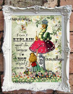 ALICE in Wonderland Wall Art Alice in Wonderland by OldStyleDesign