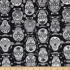 Timeless Treasures Glow in the Dark Skulls Black from @fabricdotcom  Designed by Timeless Treasures, this cotton print fabric is perfect for quilting, apparel and home decor accents. Colors include black and white.
