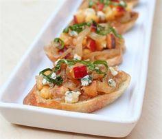 19 Creatively Delicious Bruschetta Recipes: Peach, Caramelized Onion and Blue Cheese Bruschetta