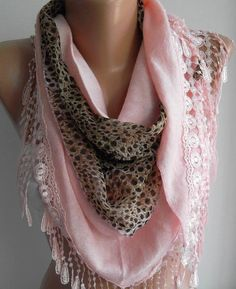 Light  Pink / leopard  Elegance  Shawl by womann on Etsy,