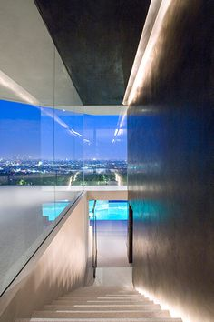 Modern architecture at its best: spectacular Hollywood Hills mansion overlooking the stunning Los Angeles nightlights