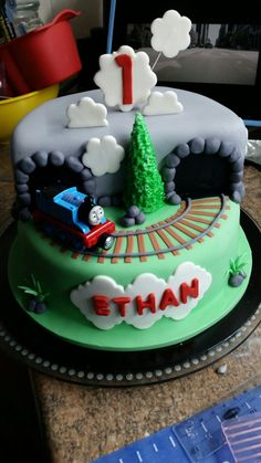 Fondant thomas the train engine birthday cake, with track and tunnel
