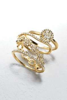 Ten year anniversary rings?!? Loving all gold stacked rings.
