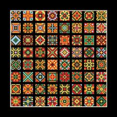 Cross stitch pattern 64 small squares 13 x 13 stitches Cross Stitch Numbers, Cross Stitch Borders, Cross Stitching, Cross Stitch Embroidery, Cross Stitch Patterns, Bargello Needlepoint, Needlepoint Patterns, Hand Embroidery Patterns, Cross Stitch Geometric