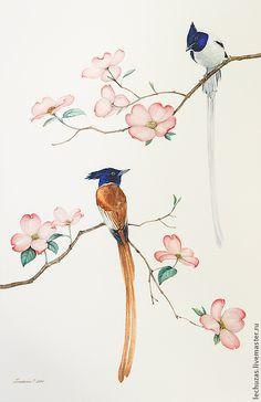 Купить или заказать Акварель Цветы и птицы Рис. 2 в интернет-магазине на Ярмарке Мастеров. На картине изображен цветущий кизил и две райские мухоловки. Картина была выполнена на заказ и входит в композицию из двух рисунков.