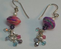 Paper Bead Earrings Dangle Crystal Pink Purple Pearl