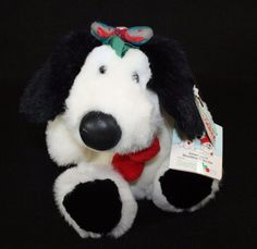 "10"" Vintage Plua CHRISTMAS BERRYMORE MOOSTLETOE DOG STUFFED ANIMAL TOY PUPpy"