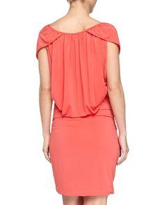 Cap-Sleeve Ruched Dress, Poppy