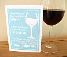 Funny Wine Card - Perfect for Wine Lovers - Graphic Print