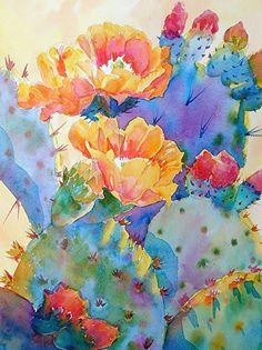 Mary Shepard - Portfolio of Works: Watercolor Cactus Originals Cactus Painting, Watercolor Cactus, Cactus Art, Watercolour Painting, Watercolors, Garden Cactus, Watercolor Images, Cactus Decor, Art Floral