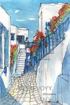 Mykonos Street Flowers Greece art print from an by AndreVoyy,
