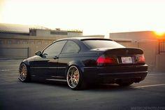 BMW E46 M3 black with massive deep dish gold rims