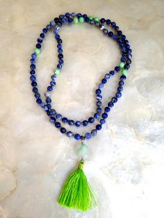 Throat Chakra Mala - Yoga Jewelry for Courage and Communication - Sodalite Chakra Balancing Bohemian Necklace