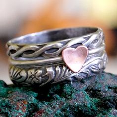Sterling Silver - Stacking Ring Set of 3 - Rustic Romance, by lovestrucksoul at Etsy