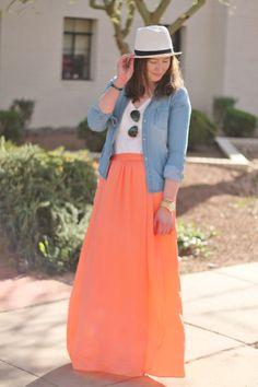 Peach Maxi Skirt, White Fedora Hat, Chambray Shirt, White Tee