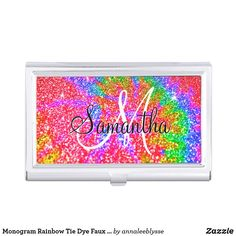 Monogram Rainbow Tie Dye Faux Glitter Business Card Case Business Card Case, Business Card Holders, Business Card Design, Business Cards, Online Gifts, Pattern Fashion, Your Cards, Make Your Own, Tie Dye