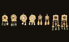 FOUR PAIRS OF ROMAN GOLD EARRINGS   Circa 2nd-4th Century A.D.