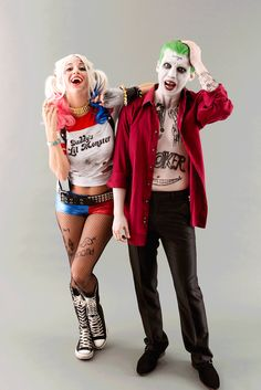 Save this DIY Suicide Squad couples Halloween costume idea to become the Joker + Harley Quinn.